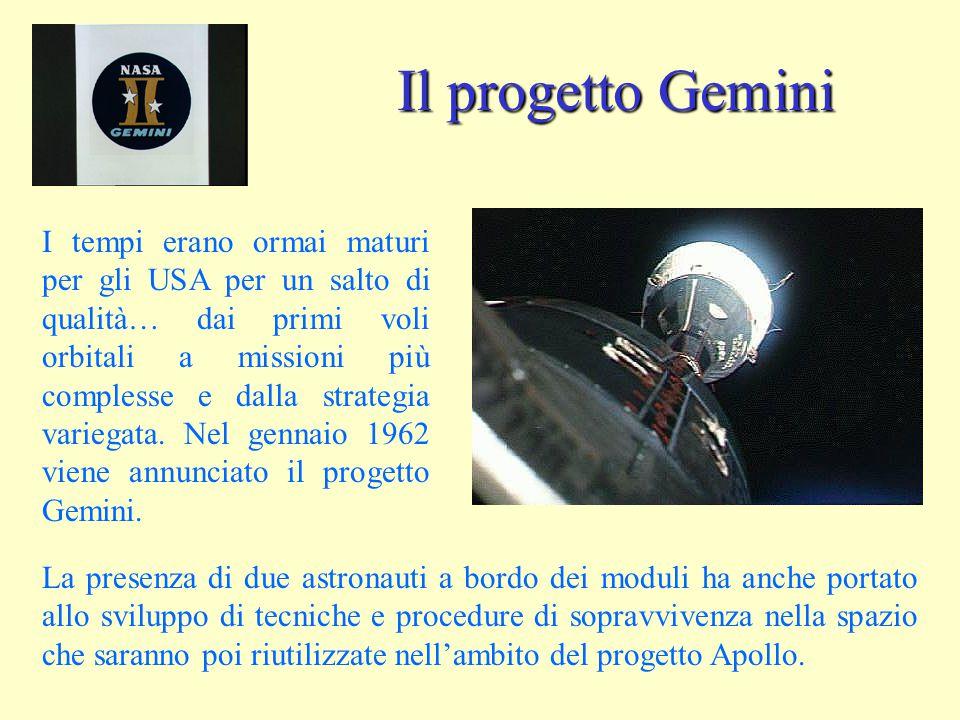 Il progetto Gemini I tempi erano ormai maturi per gli USA per un salto di qualità… dai primi voli orbitali a missioni più complesse e dalla strategia