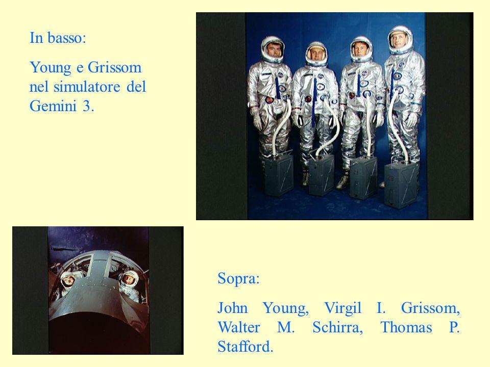 Sopra: John Young, Virgil I. Grissom, Walter M. Schirra, Thomas P. Stafford. In basso: Young e Grissom nel simulatore del Gemini 3.