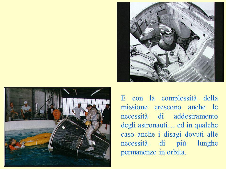 E con la complessità della missione crescono anche le necessità di addestramento degli astronauti… ed in qualche caso anche i disagi dovuti alle neces