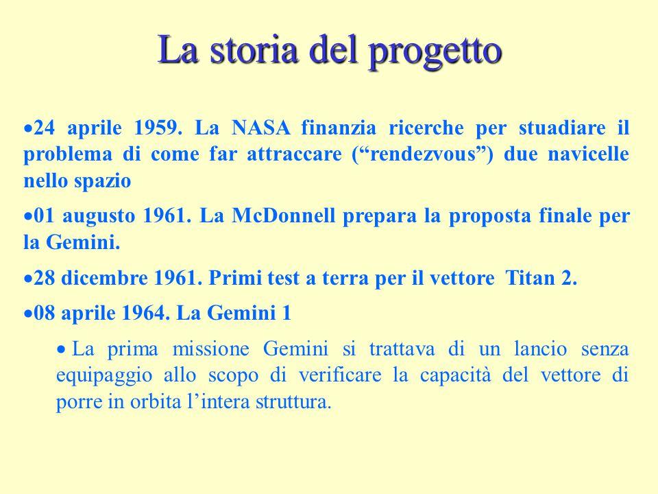 """La storia del progetto  24 aprile 1959. La NASA finanzia ricerche per stuadiare il problema di come far attraccare (""""rendezvous"""") due navicelle nello"""