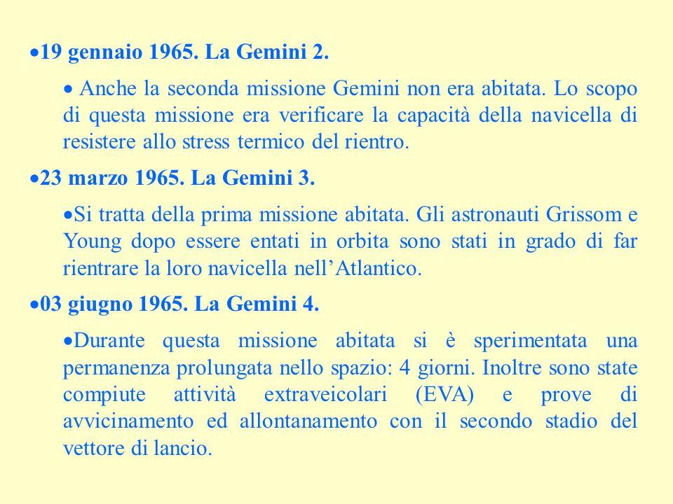  19 gennaio 1965. La Gemini 2.  Anche la seconda missione Gemini non era abitata. Lo scopo di questa missione era verificare la capacità della navic