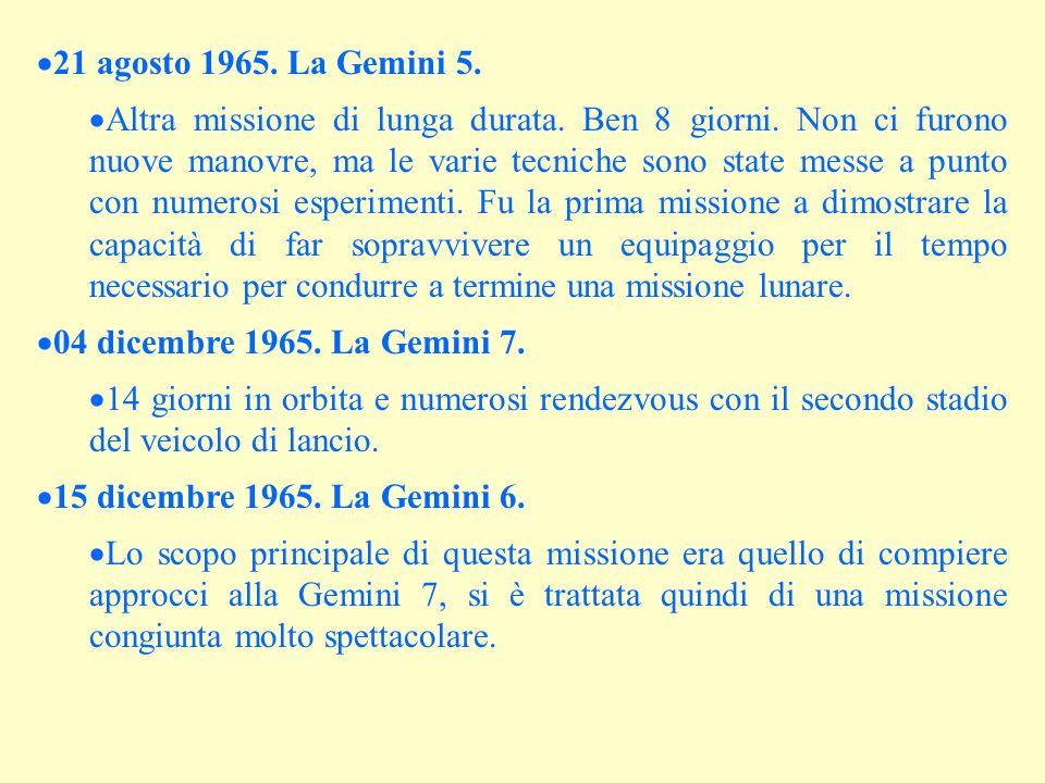  21 agosto 1965. La Gemini 5.  Altra missione di lunga durata. Ben 8 giorni. Non ci furono nuove manovre, ma le varie tecniche sono state messe a pu