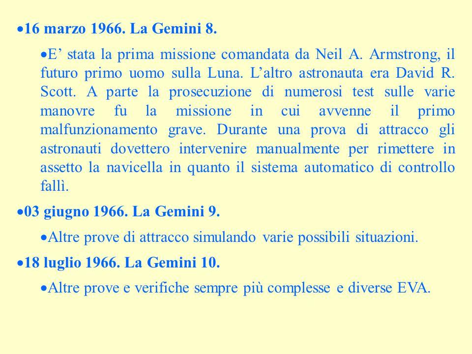  16 marzo 1966. La Gemini 8.  E' stata la prima missione comandata da Neil A. Armstrong, il futuro primo uomo sulla Luna. L'altro astronauta era Dav