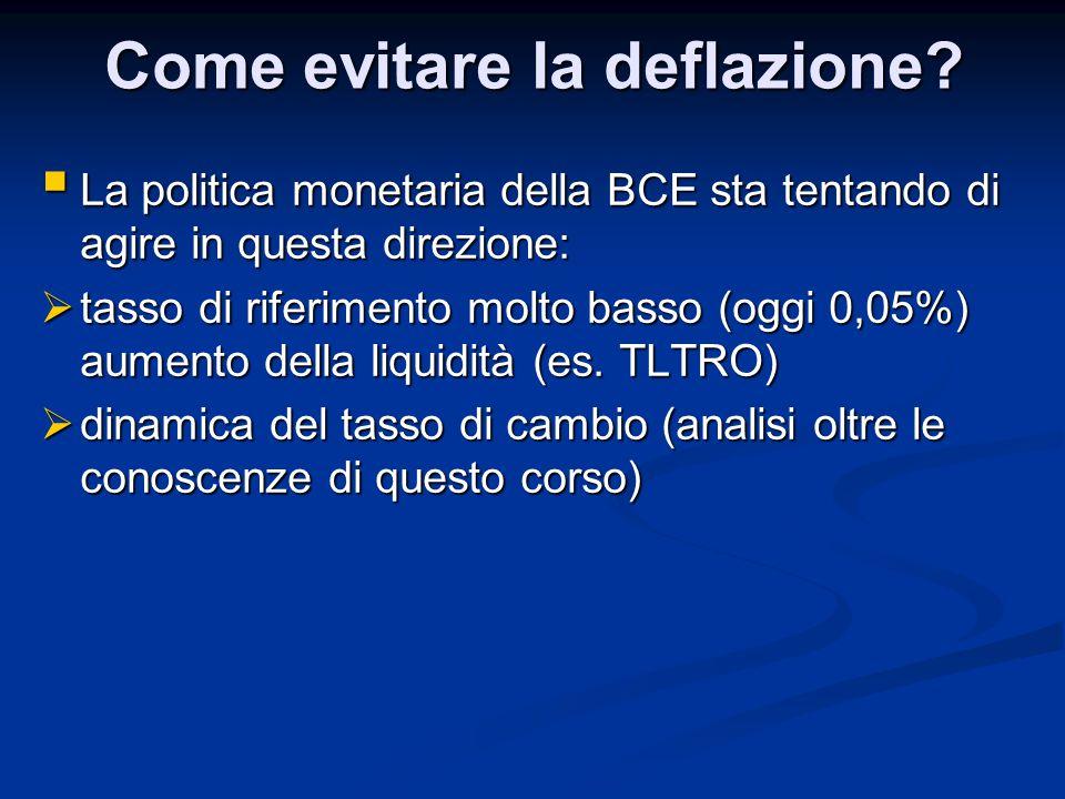 Come evitare la deflazione?  La politica monetaria della BCE sta tentando di agire in questa direzione:  tasso di riferimento molto basso (oggi 0,05
