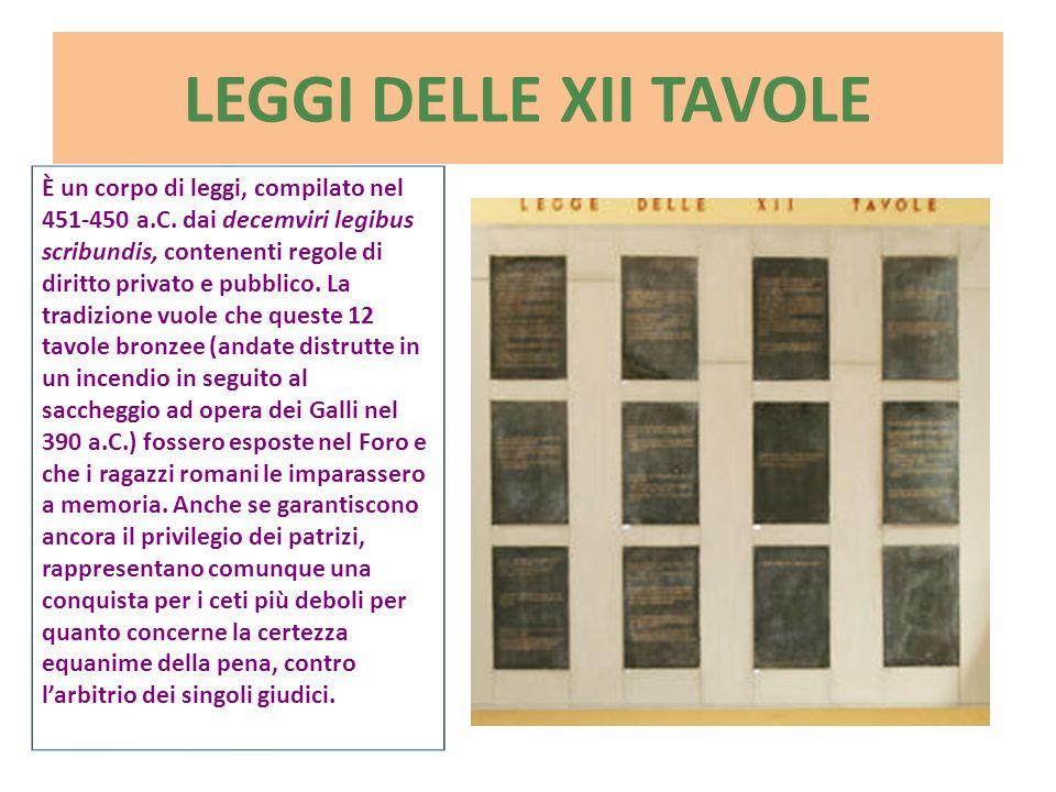 LEGGI DELLE XII TAVOLE È un corpo di leggi, compilato nel 451-450 a.C. dai decemviri legibus scribundis, contenenti regole di diritto privato e pubbli