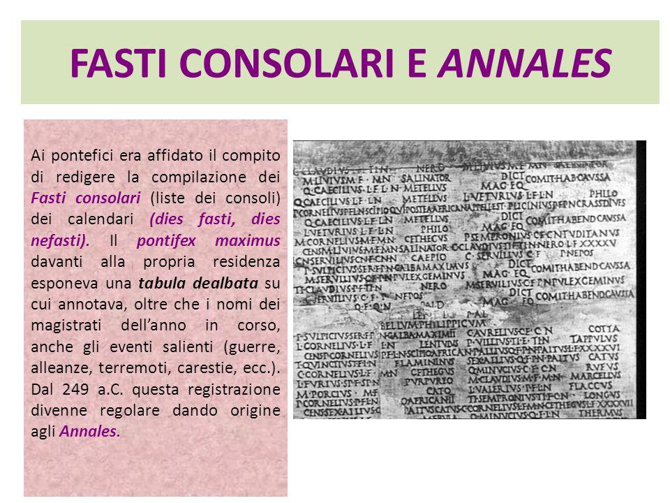 FASTI CONSOLARI E ANNALES Ai pontefici era affidato il compito di redigere la compilazione dei Fasti consolari (liste dei consoli) dei calendari (dies