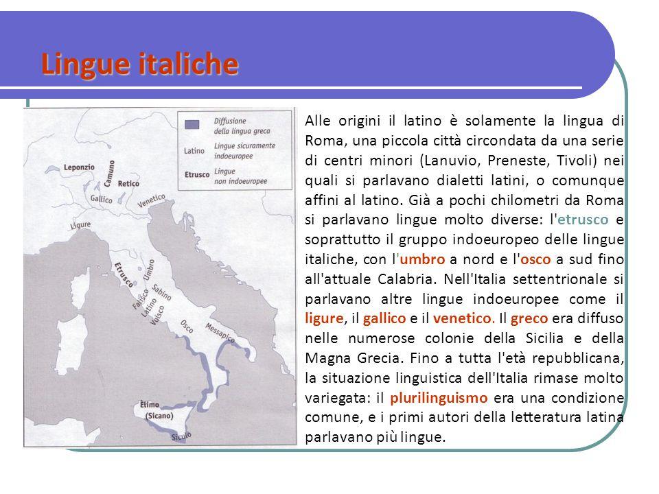 Alle origini il latino è solamente la lingua di Roma, una piccola città circondata da una serie di centri minori (Lanuvio, Preneste, Tivoli) nei quali