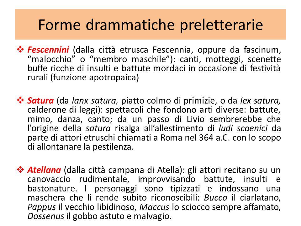 """ Fescennini (dalla città etrusca Fescennia, oppure da fascinum, """"malocchio"""" o """"membro maschile""""): canti, motteggi, scenette buffe ricche di insulti e"""