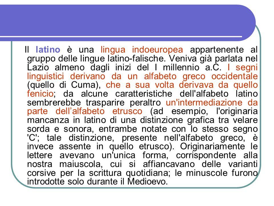 Il latino è una lingua indoeuropea appartenente al gruppo delle lingue latino-falische. Veniva già parlata nel Lazio almeno dagli inizi del I millenni