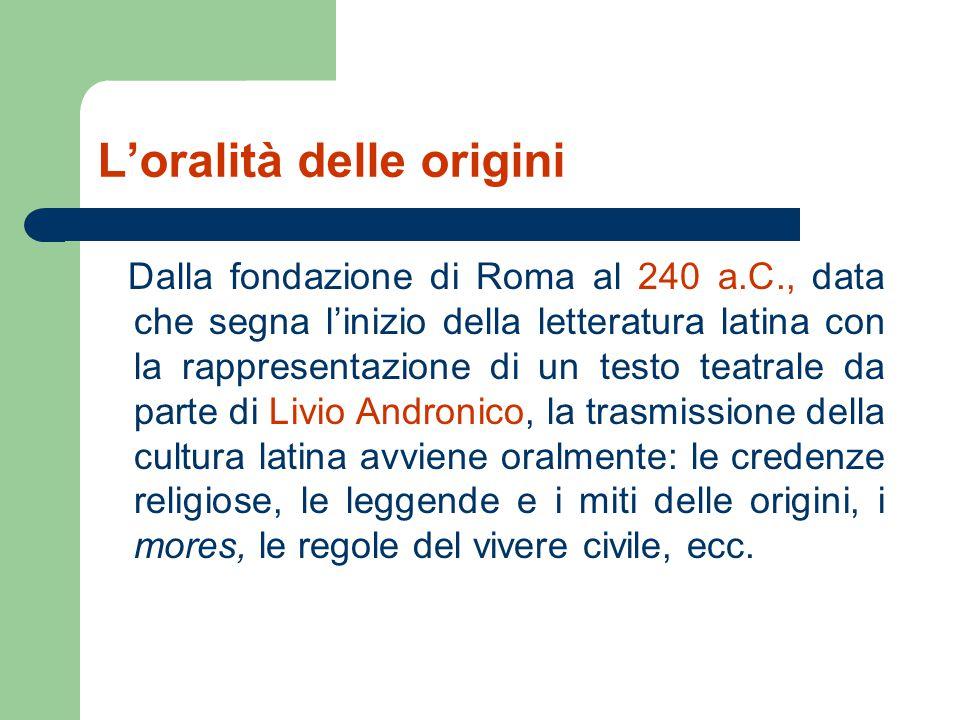 L'oralità delle origini Dalla fondazione di Roma al 240 a.C., data che segna l'inizio della letteratura latina con la rappresentazione di un testo tea