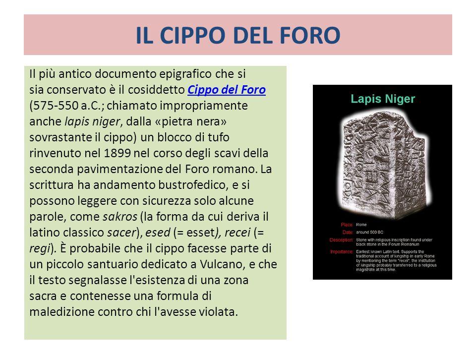 IL CIPPO DEL FORO Il più antico documento epigrafico che si sia conservato è il cosiddetto Cippo del ForoCippo del Foro (575-550 a.C.; chiamato improp