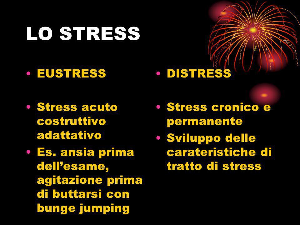 LO STRESS EUSTRESS Stress acuto costruttivo adattativo Es. ansia prima dell'esame, agitazione prima di buttarsi con bunge jumping DISTRESS Stress cron