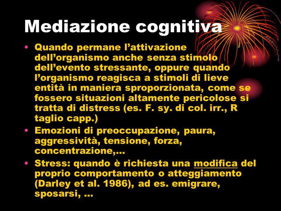 Mediazione cognitiva Quando permane l'attivazione dell'organismo anche senza stimolo dell'evento stressante, oppure quando l'organismo reagisca a stim