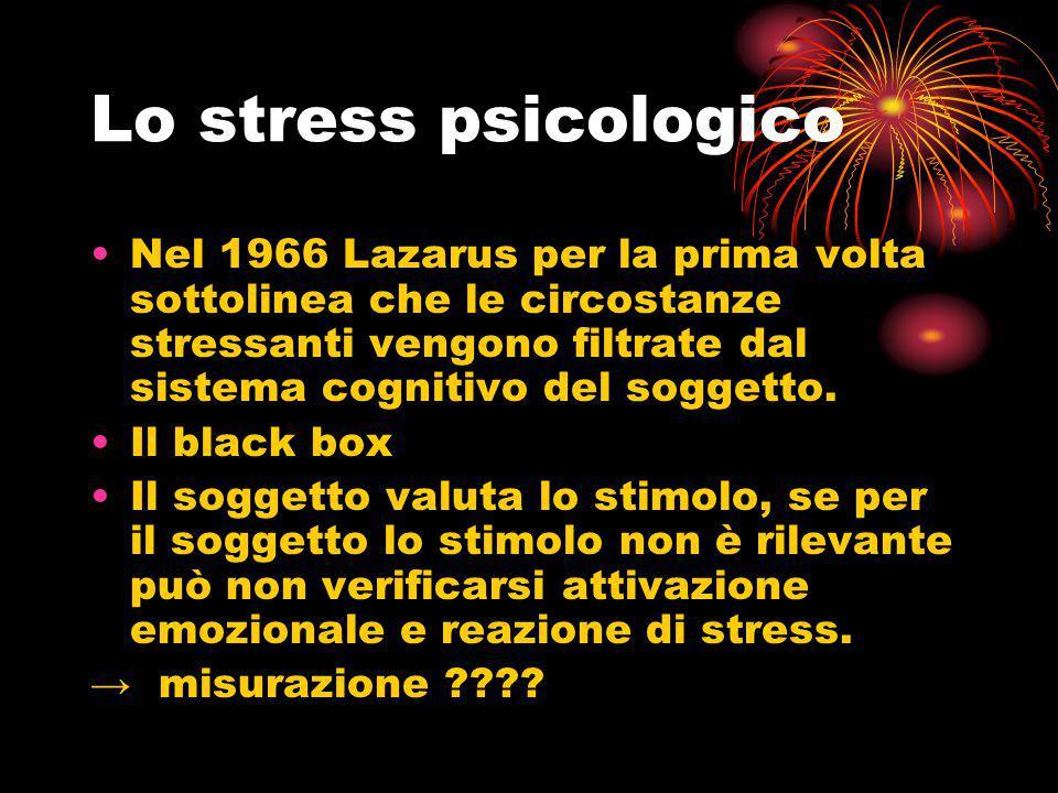 Lo stress psicologico Nel 1966 Lazarus per la prima volta sottolinea che le circostanze stressanti vengono filtrate dal sistema cognitivo del soggetto