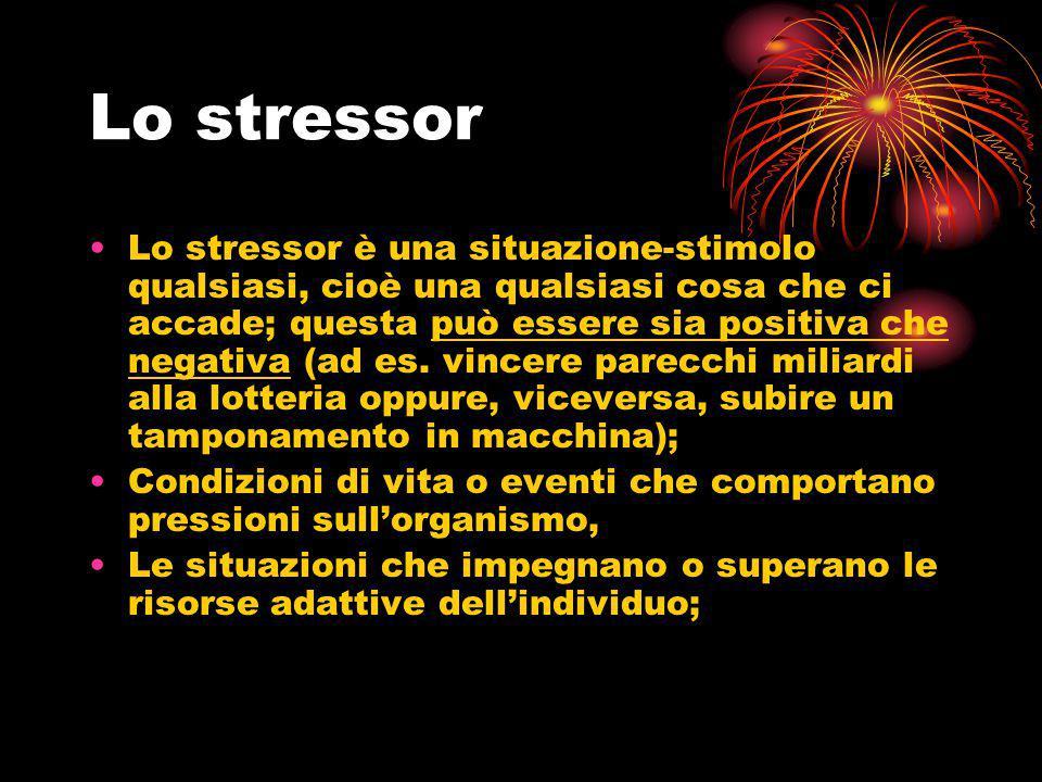 Lo stressor Lo stressor è una situazione-stimolo qualsiasi, cioè una qualsiasi cosa che ci accade; questa può essere sia positiva che negativa (ad es.