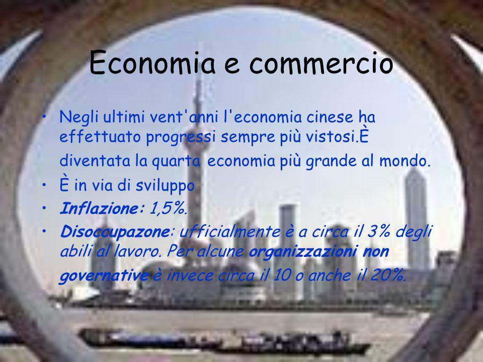 Economia e commercio Negli ultimi vent'anni l'economia cinese ha effettuato progressi sempre più vistosi.È diventata la quarta economia più grande al