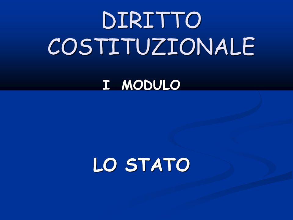 DIRITTO COSTITUZIONALE I MODULO LO STATO