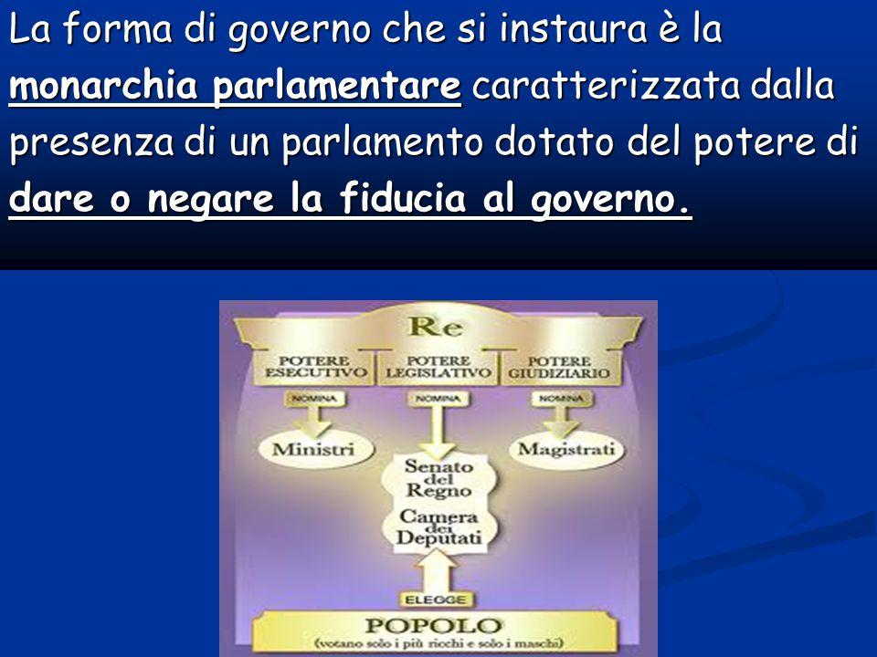La forma di governo che si instaura è la monarchia parlamentare caratterizzata dalla presenza di un parlamento dotato del potere di dare o negare la fiducia al governo.