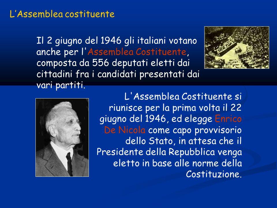 Il 2 giugno del 1946 gli italiani votano anche per l Assemblea Costituente, composta da 556 deputati eletti dai cittadini fra i candidati presentati dai vari partiti.