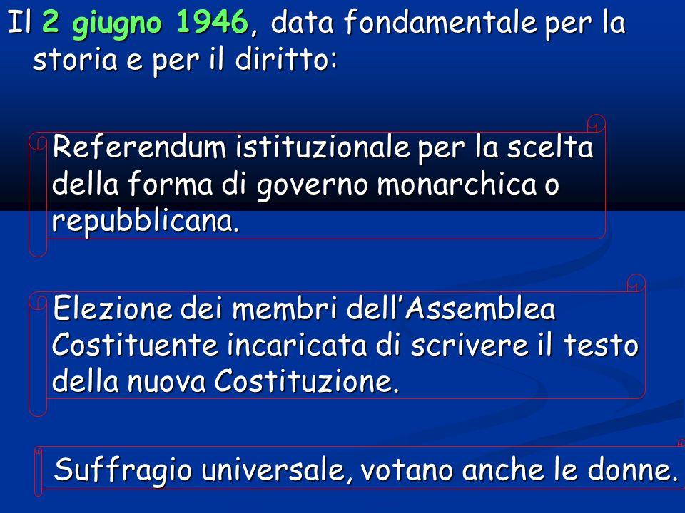 Il 2 giugno 1946, data fondamentale per la storia e per il diritto: Referendum istituzionale per la scelta della forma di governo monarchica o repubblicana.