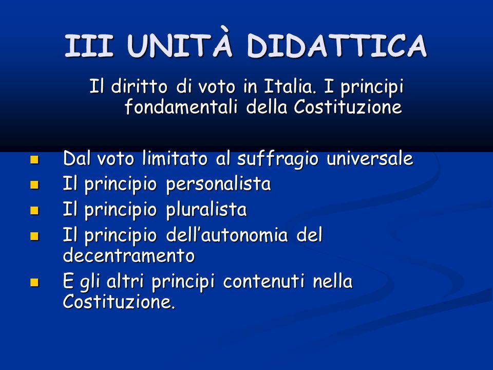 III UNITÀ DIDATTICA Il diritto di voto in Italia.