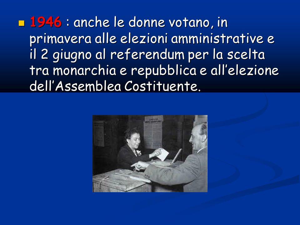 1946 : anche le donne votano, in primavera alle elezioni amministrative e il 2 giugno al referendum per la scelta tra monarchia e repubblica e all'elezione dell'Assemblea Costituente.