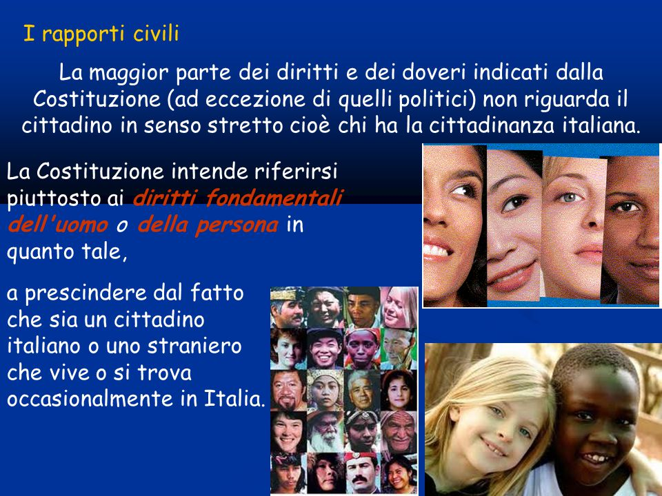 La maggior parte dei diritti e dei doveri indicati dalla Costituzione (ad eccezione di quelli politici) non riguarda il cittadino in senso stretto cioè chi ha la cittadinanza italiana.