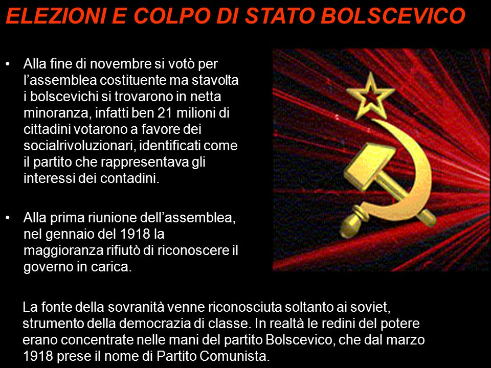 Alla fine di novembre si votò per l'assemblea costituente ma stavolta i bolscevichi si trovarono in netta minoranza, infatti ben 21 milioni di cittadi