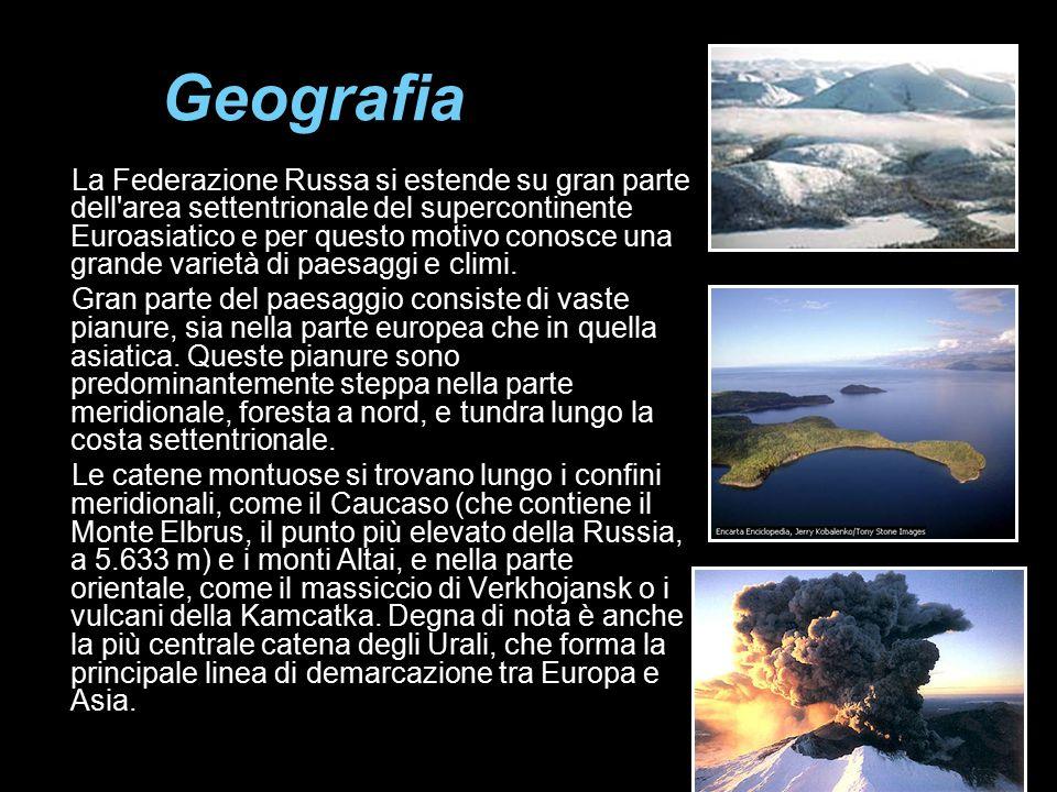 Geografia La Federazione Russa si estende su gran parte dell'area settentrionale del supercontinente Euroasiatico e per questo motivo conosce una gran