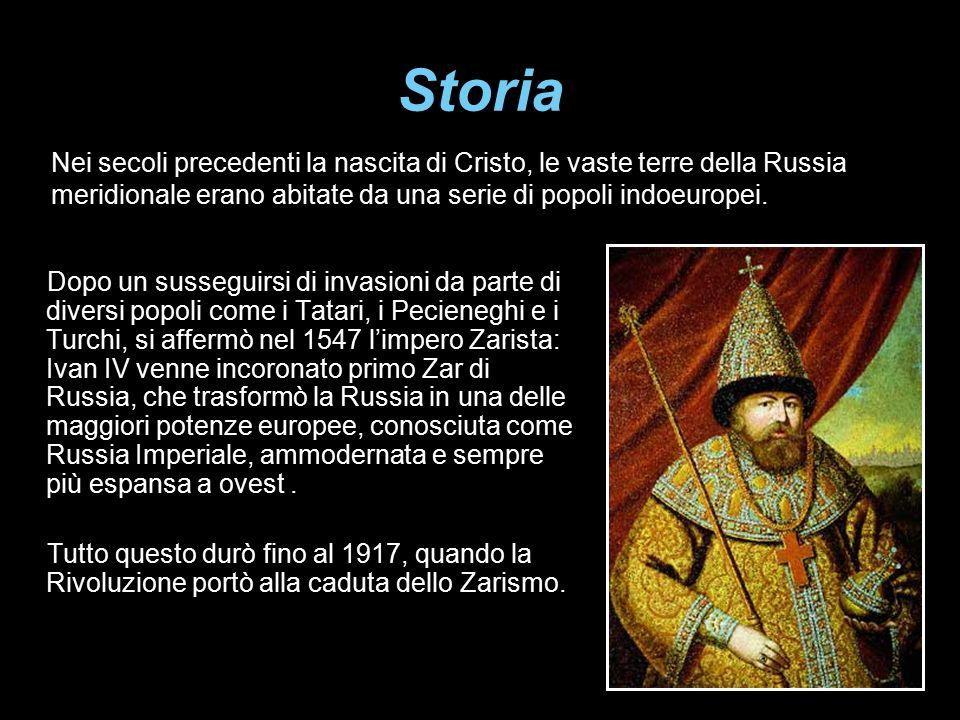 Storia Dopo un susseguirsi di invasioni da parte di diversi popoli come i Tatari, i Pecieneghi e i Turchi, si affermò nel 1547 l'impero Zarista: Ivan