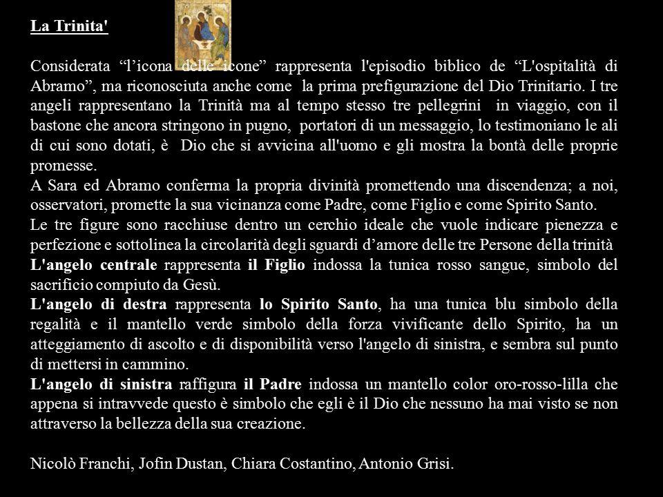"""La Trinita' Considerata """"l'icona delle icone"""" rappresenta l'episodio biblico de """"L'ospitalità di Abramo"""", ma riconosciuta anche come la prima prefigur"""