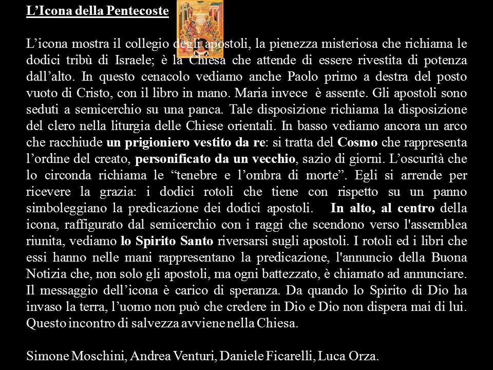L'Icona della Pentecoste L'icona mostra il collegio degli apostoli, la pienezza misteriosa che richiama le dodici tribù di Israele; è la Chiesa che at
