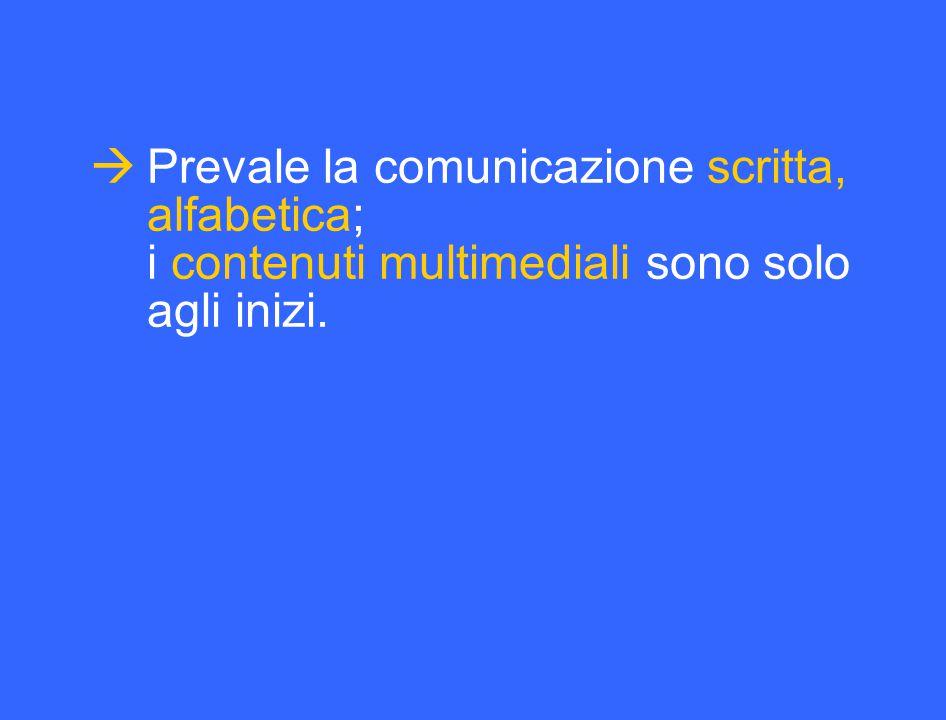  Prevale la comunicazione scritta, alfabetica; i contenuti multimediali sono solo agli inizi.