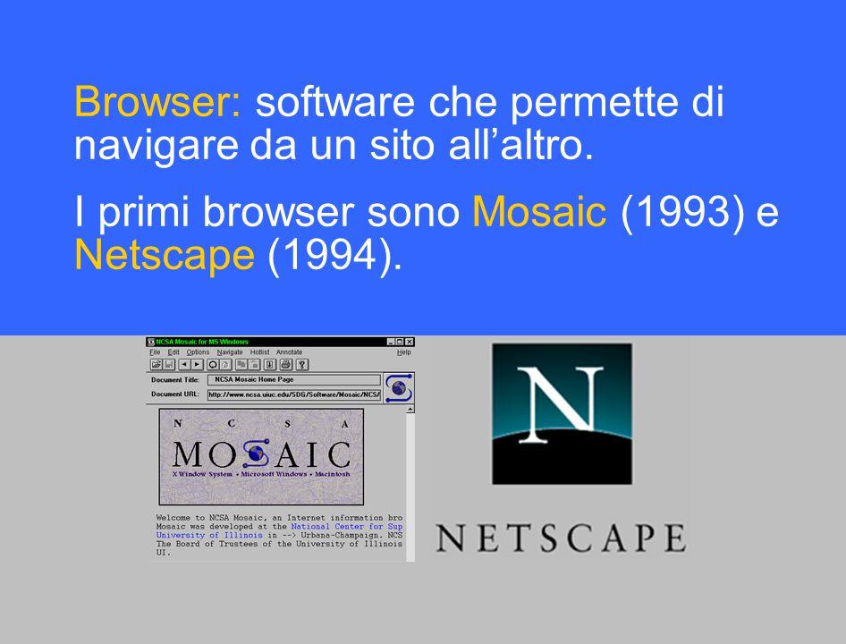 Browser: software che permette di navigare da un sito all'altro.
