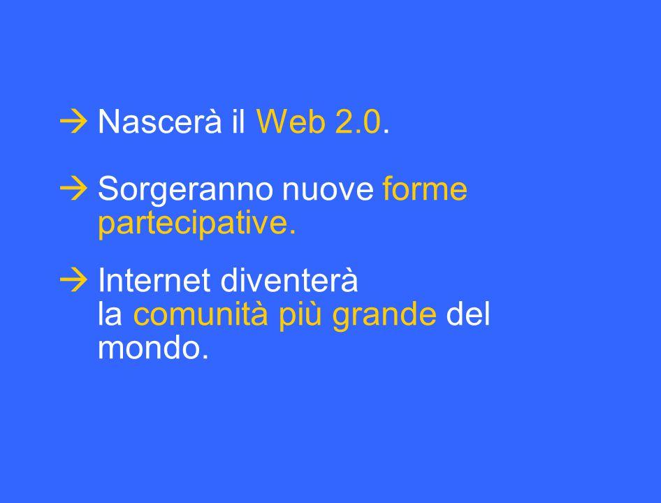  Nascerà il Web 2.0.  Sorgeranno nuove forme partecipative.