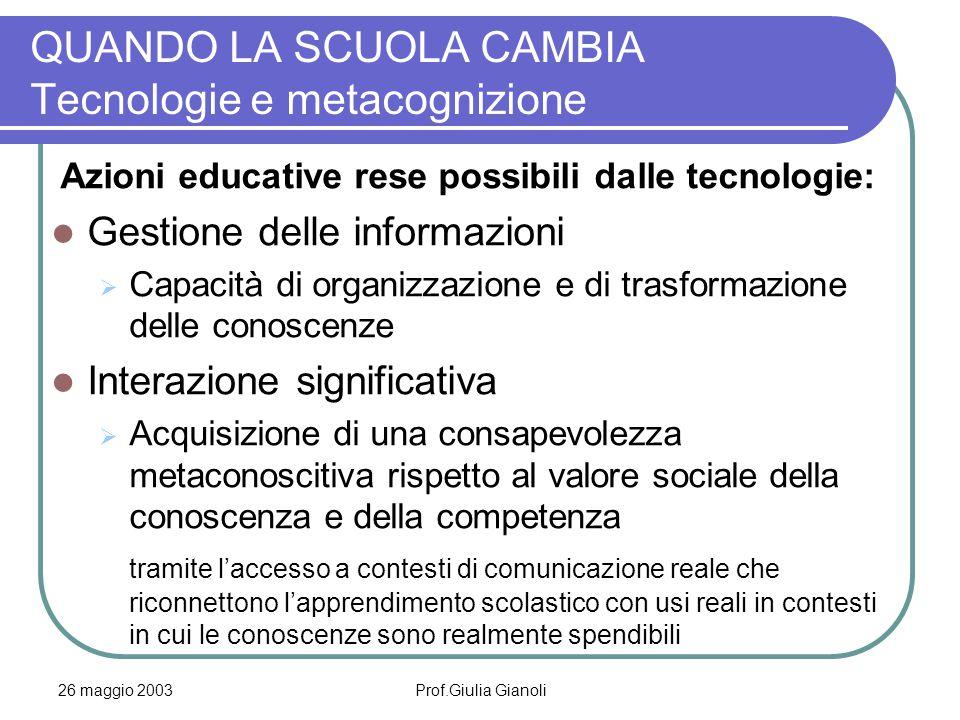 26 maggio 2003Prof.Giulia Gianoli QUANDO LA SCUOLA CAMBIA Tecnologie e metacognizione Azioni educative rese possibili dalle tecnologie: Gestione delle