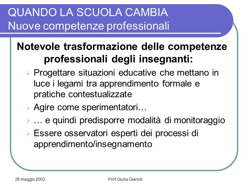 26 maggio 2003Prof.Giulia Gianoli QUANDO LA SCUOLA CAMBIA Nuove competenze professionali Notevole trasformazione delle competenze professionali degli