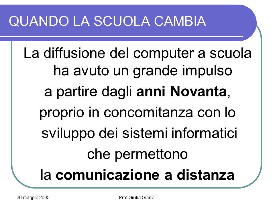 26 maggio 2003Prof.Giulia Gianoli QUANDO LA SCUOLA CAMBIA La diffusione del computer a scuola ha avuto un grande impulso a partire dagli anni Novanta, proprio in concomitanza con lo sviluppo dei sistemi informatici che permettono la comunicazione a distanza