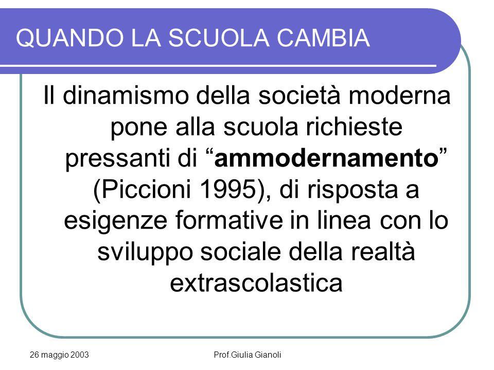 """26 maggio 2003Prof.Giulia Gianoli QUANDO LA SCUOLA CAMBIA Il dinamismo della società moderna pone alla scuola richieste pressanti di """"ammodernamento"""""""
