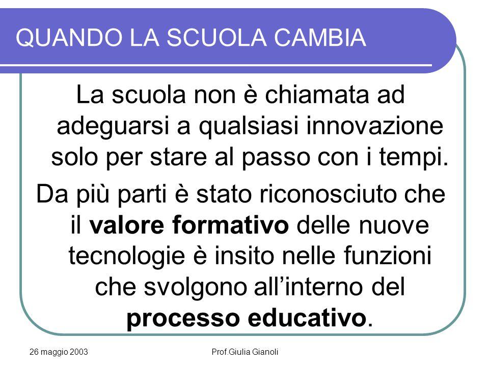 26 maggio 2003Prof.Giulia Gianoli QUANDO LA SCUOLA CAMBIA L'innovazione a scuola Emerge il quadro della complessità dell'integrazione delle risorse umane, prima ancora che tecnologiche, necessarie all'avvio di progetti innovativi.