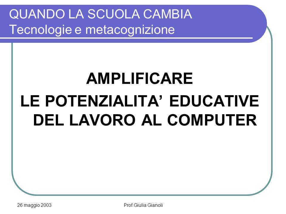 26 maggio 2003Prof.Giulia Gianoli QUANDO LA SCUOLA CAMBIA Tecnologie e metacognizione AMPLIFICARE LE POTENZIALITA' EDUCATIVE DEL LAVORO AL COMPUTER