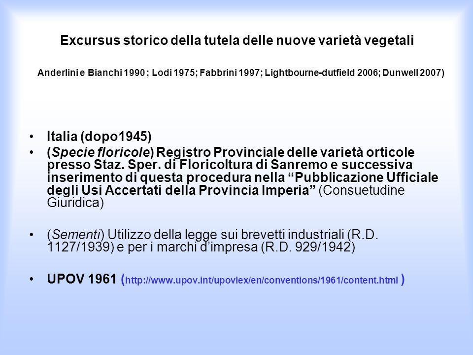 Italia (dopo1945) (Specie floricole) Registro Provinciale delle varietà orticole presso Staz. Sper. di Floricoltura di Sanremo e successiva inseriment