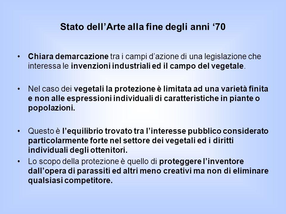 Stato dell'Arte alla fine degli anni '70 Chiara demarcazione tra i campi d'azione di una legislazione che interessa le invenzioni industriali ed il ca