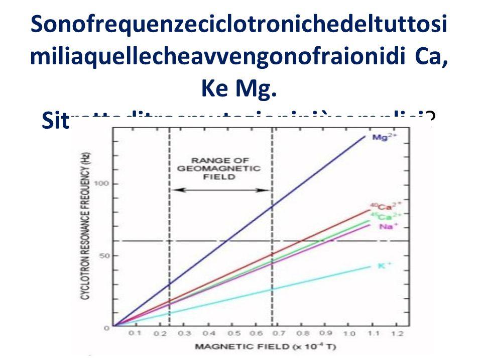Sonofrequenzeciclotronichedeltuttosi miliaquellecheavvengonofraionidi Ca, Ke Mg.