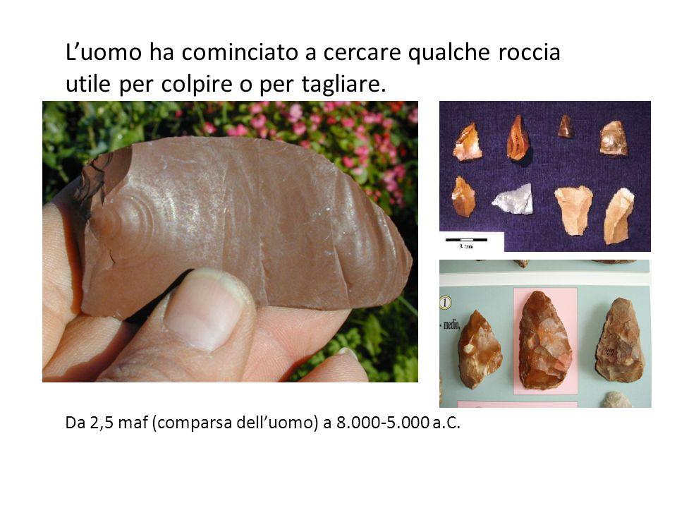 L'uomo ha cominciato a cercare qualche roccia utile per colpire o per tagliare. Da 2,5 maf (comparsa dell'uomo) a 8.000-5.000 a.C.