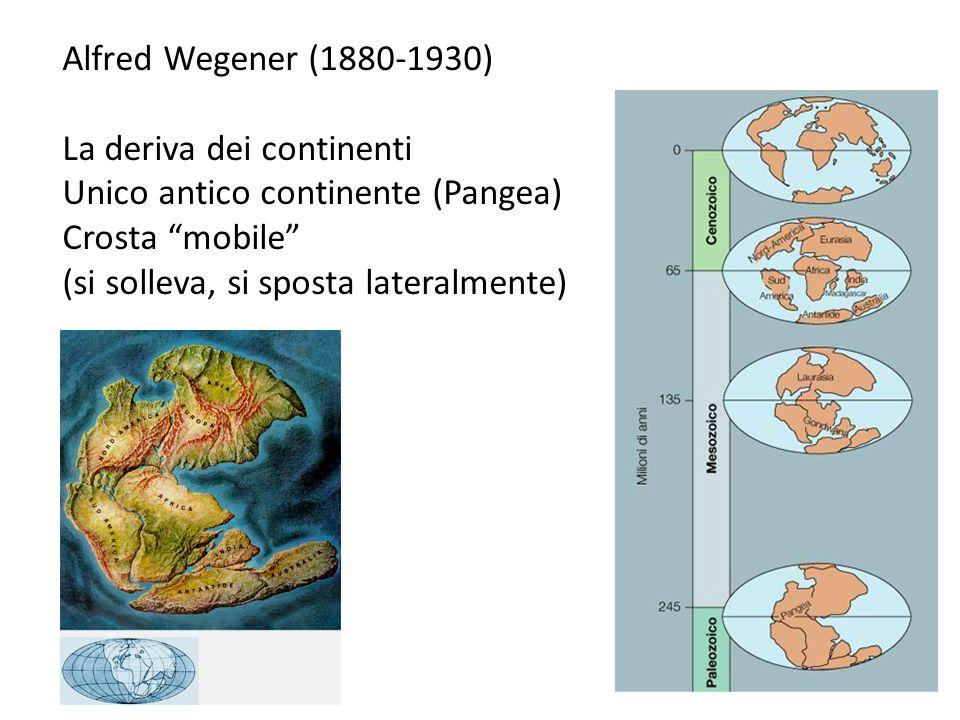 Alfred Wegener (1880-1930) La deriva dei continenti Unico antico continente (Pangea) Crosta mobile (si solleva, si sposta lateralmente)