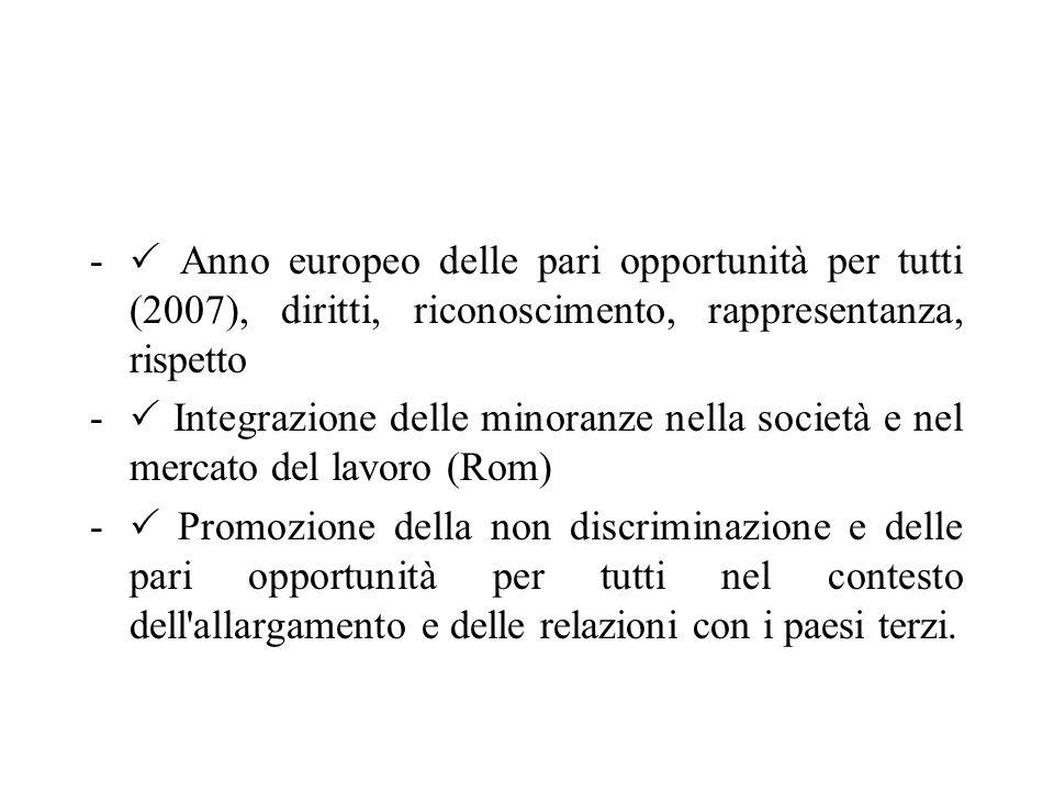 -  Anno europeo delle pari opportunità per tutti (2007), diritti, riconoscimento, rappresentanza, rispetto -  Integrazione delle minoranze nella società e nel mercato del lavoro (Rom) -  Promozione della non discriminazione e delle pari opportunità per tutti nel contesto dell allargamento e delle relazioni con i paesi terzi.