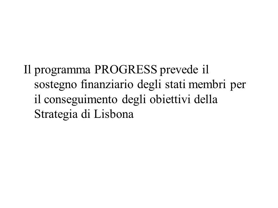 Il programma PROGRESS prevede il sostegno finanziario degli stati membri per il conseguimento degli obiettivi della Strategia di Lisbona