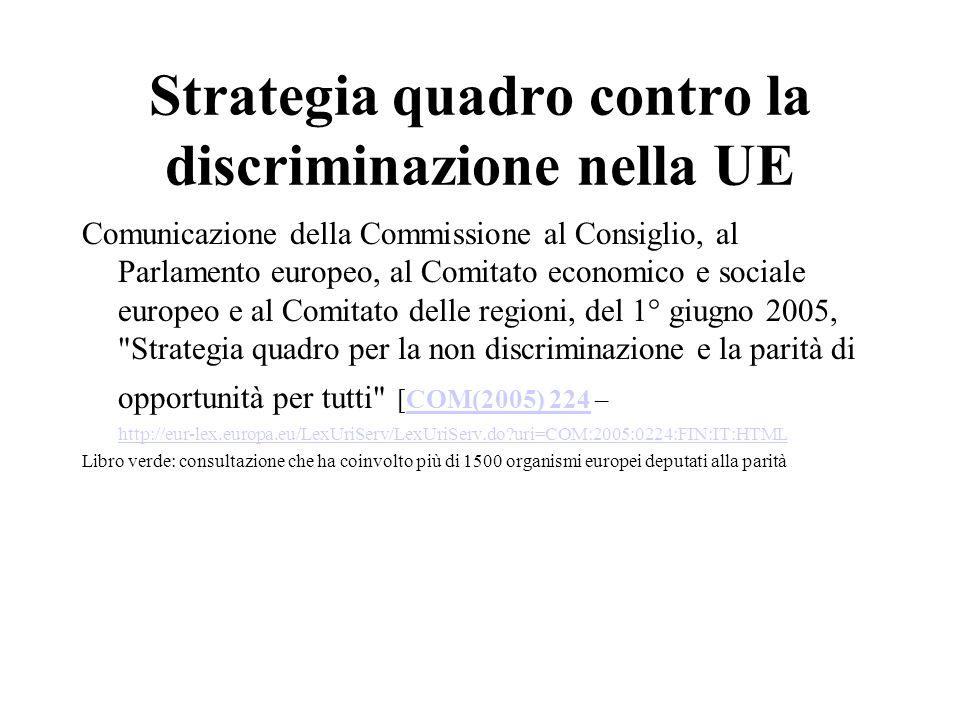 Strategia quadro contro la discriminazione nella UE Comunicazione della Commissione al Consiglio, al Parlamento europeo, al Comitato economico e sociale europeo e al Comitato delle regioni, del 1° giugno 2005, Strategia quadro per la non discriminazione e la parità di opportunità per tutti [COM(2005) 224 –COM(2005) 224 http://eur-lex.europa.eu/LexUriServ/LexUriServ.do uri=COM:2005:0224:FIN:IT:HTML Libro verde: consultazione che ha coinvolto più di 1500 organismi europei deputati alla parità