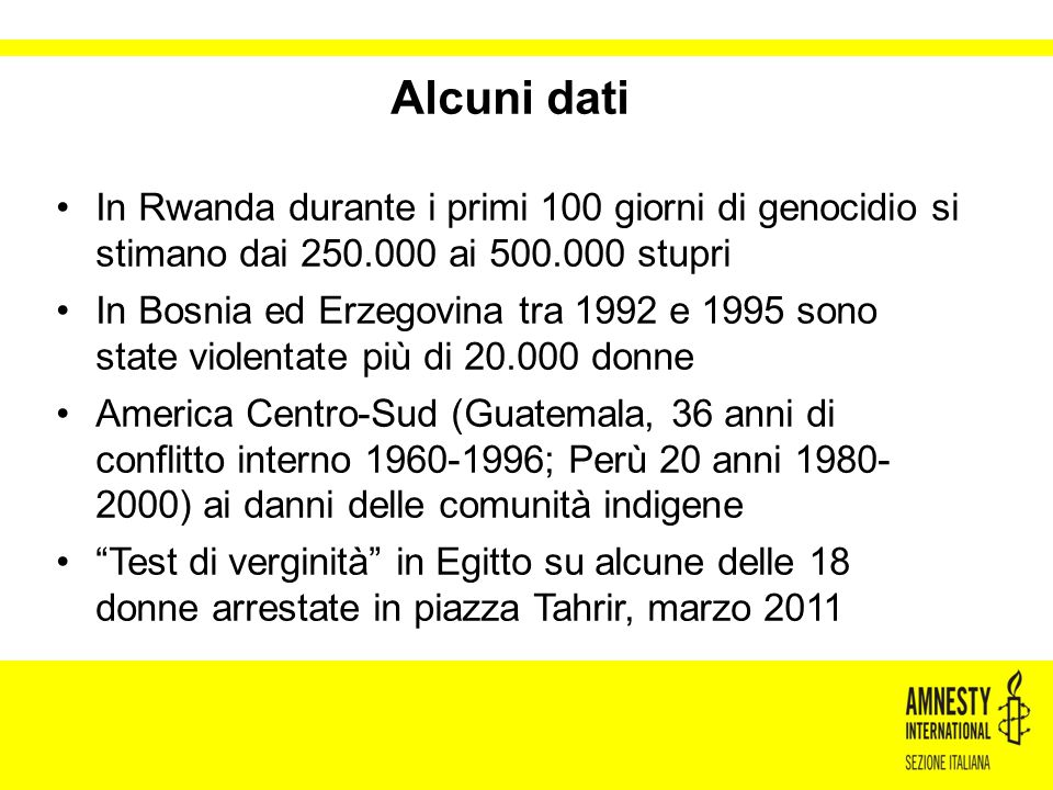 Alcuni dati In Rwanda durante i primi 100 giorni di genocidio si stimano dai 250.000 ai 500.000 stupri In Bosnia ed Erzegovina tra 1992 e 1995 sono st